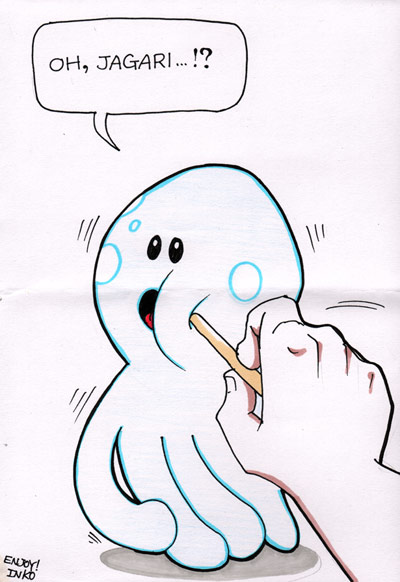 Lucy the Octopus being poked with a stick by Inko